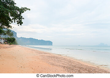 Tranquil and sandy tropical beach in Krabi - Deserted beach...