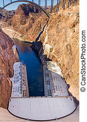 Hoover Dam bridge over the Colorado River - Hoover Dam...