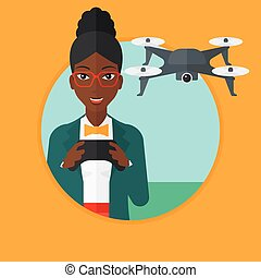 Woman flying drone vector illustration. - An...