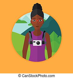 Woman with camera on chest vector illustration.