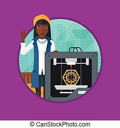 Woman with three D printer vector illustration. - An african...