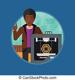 Man with three D printer vector illustration. - An african...