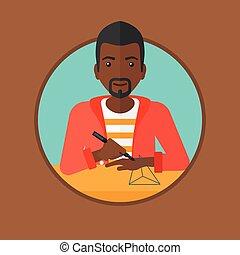 Man using three D pen vector illustration. - An...