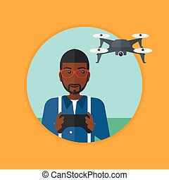 Man flying drone vector illustration. - An african-american...