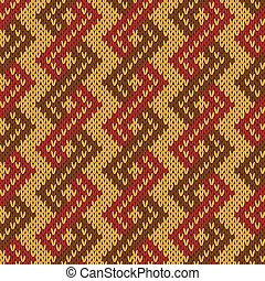 Knitting seamless zigzag pattern in muted warm colors -...