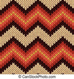 Knitting seamless zigzag pattern in warm colors - Knitting...