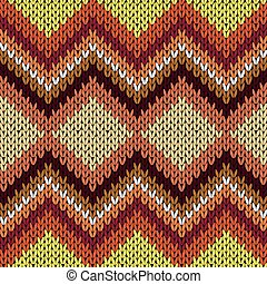 Knitting seamless zigzag pattern in warm hues - Knitting...