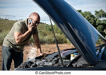 Broken Down Car - Close up of a broken down car, engine open...