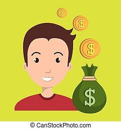 man bag money currency vector illustration eps 10