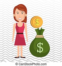 woman bag money currency vector illustration eps 10