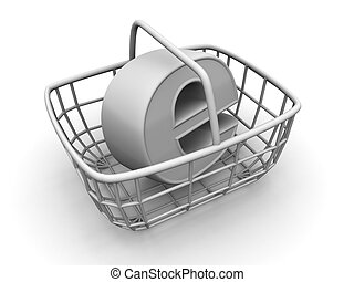 Consumer\'s basket with symbol for internet