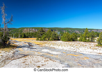 Runoff from Grand Geyser - Landscape and view of water...