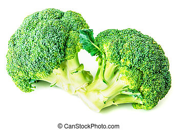 two green broccoli on white background - 2 separate small...