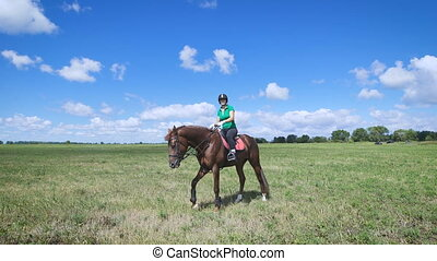 Young woman riding a horse on the green field. Walking...