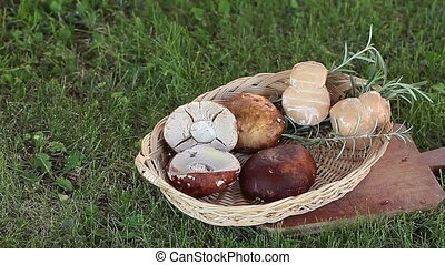 Cheese And Porcini Mushrooms - Typical ingredients of...
