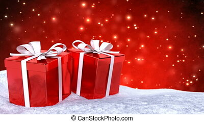 Christmas gifts in snow on red bokeh background. Seamless loop. 3D render.