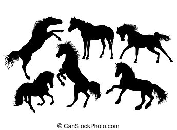 Horse Set Vector Silhouettes