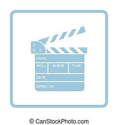 Clapperboard icon. Blue frame design. Vector illustration.