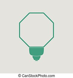 Icon of portable fashion flash. Gray background with green....