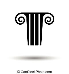 Antique column icon. White background with shadow design....