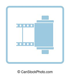 Photo cartridge reel icon. Blue frame design. Vector...