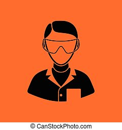 Icon of chemist in eyewear. Orange background with black....