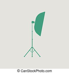 Icon of softbox light. Gray background with green. Vector...
