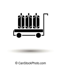 Luggage cart icon. White background with shadow design....
