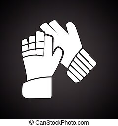 Soccer goalkeeper gloves icon Black background with white...