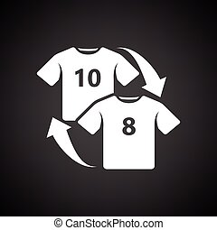 Soccer replace icon. Black background with white. Vector...