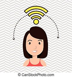 woman wifi web internet connected vector illustration eps 10