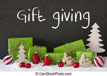 regalo, Dar, decoración, nieve, cemento, texto, navidad