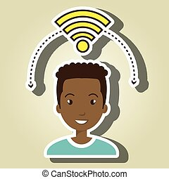 man wifi web internet connected vector illustration eps 10