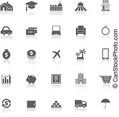 Loan icons with reflect on white background, stock vector