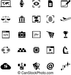 Information technology icons on white background, stock...