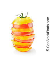 Fresh vitamin background. Red & yellow tomato mix in pyramid...