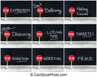 Photo collage of STOP messages written on chalkboard. Mini...
