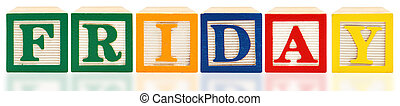 Alphabet Blocks Friday - Colorful alphabet blocks spelling...