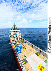 Supply boat transfer cargo to oil and gas industry and...