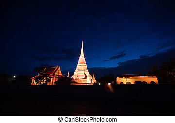 Colorful of Phra Samut Chedi - Colorful on twilight of Phra...