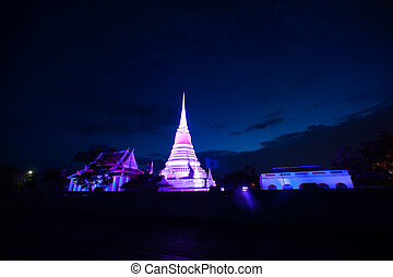 Colorful of Phra Samut Chedi. - Colorful on twilight of Phra...