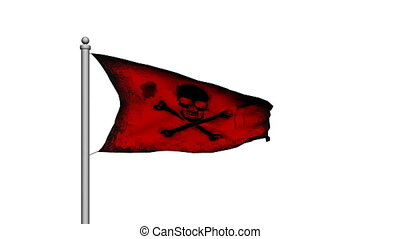 Skull and crossbones pirate flag on white background - Death...
