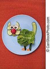 placa, hecho, tela, vegetales, gato, sorprendido