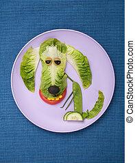 placa, hecho, tela, ensalada, perro, feliz