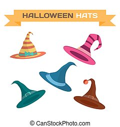 Set of multi-colored hats for Halloween. Vector flat cartoon...