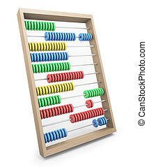 Abacus - Colorful wooden abacus; 3D rendered image.