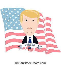 Donald Trump and the American flag - Donald Trump portrait...