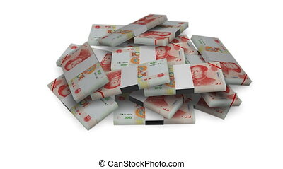 Yuan money bundles on white - Yuan money bundles rotating on...