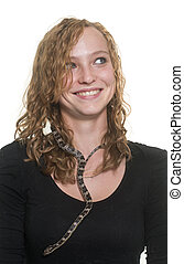 corn snake and girl in front of white background