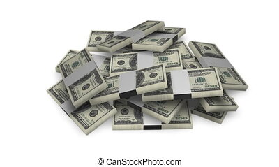 Dollar bill money bundles on white
